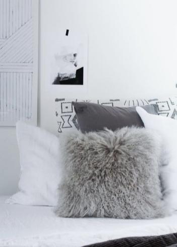 dormitorio nórdico estilo escandinavo, cálidos, lana y lino