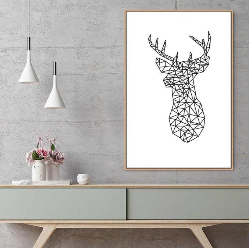 decoraciones de cuartos, nórdico Animal cartel pared, fotos, geométricos, diseños gráficos